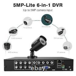8ch 5mp-lite 1080p 6-en-1 Video Dvr Recorder XVI Système De Caméra Cctv Résistant Aux Intempéries