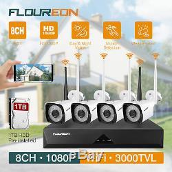 8ch Cctv Sans Fil 1080p Système Dvr Kit Wifi Caméra Ip 1tb Hdd Nvr Video Recorder