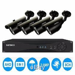 8ch Dvr Enregistrement 1080p Complet Cctv Kit Système De Sécurité + 4x2mp Hd Accueil Caméra Extérieure