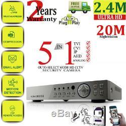 8ch Full Hd Cctv 1080p Dvr Enregistrement 3000tvl 2.4mp Système De Sécurité Extérieur À La Maison