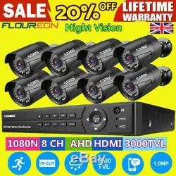 8ch Hd 1080p Cctv Dvr + 8x 3000tvl Extérieur Caméras Vidéo Enregistreur Système De Sécurité
