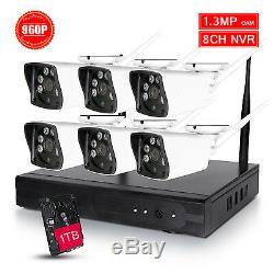 8ch Sans Fil Cctv Dvr Wifi 960p Hd Caméra Enregistreur Système Nvr 1 To 6 Ir Array Led