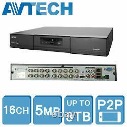 Avtech 5mp Hd Dvr Xvr 16 Channel Cctv Security Recorder 1080p Hdmi CVI Tvi Ahd