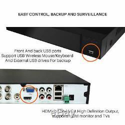 Blupont 5mp 4k Hd 8ch Dvr Cctv Enregistreur Disque Dur 2 To + 8 X Caméra Dôme Système De Sécurité