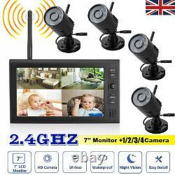 Caméra Cctv Numérique Sans Fil Avec Écran LCD 7'' Dvr Record Sécurité À La Maison