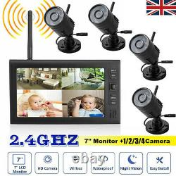 Caméra De Vidéosurveillance Numérique 4 Sans Fil Avec Écran LCD 7'' Dvr Record Home Security