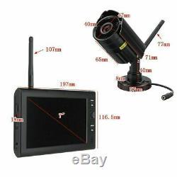 Caméra Numérique 4x Cctv Sans Fil Avec 7 '' Moniteur LCD Dvr Enregistrement Home Security Uk