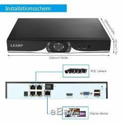 Cctv 4ch 960p Dvr Enregistreur Caméras 2000tvl Poe Extérieur Système De Caméra De Sécurité Au Royaume-uni
