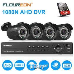 Cctv 5 In 1 8ch 1080n Ahd Enregistreur Dvr Kit De Sécurité Pour Caméra 3000tvl 1080p + 1 To Hdd