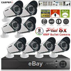 Cctv 8 Canaux Dvr Enregistreur Vidéo System + 8x Bullet Led Kit Caméra Extérieure Ir