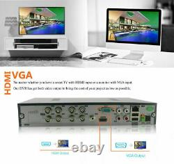 Cctv 8ch Dvr Full Hd 3mp 4mp 1080p P2p Remote View Home Security System+ 1 To Disque Dur