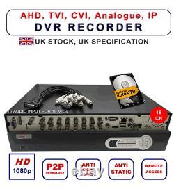 Dvr 16 Channel 1080p 16 X Entrée Audio Enregistreur Vidéo Cctv Hard Drve Vga Hdmi Bnc