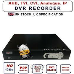 Dvr Enregistreur Cctv 1080p 8 Canaux 8 Audio Hybride Ahd CVI Ip Hdtvi Bnc Sortie