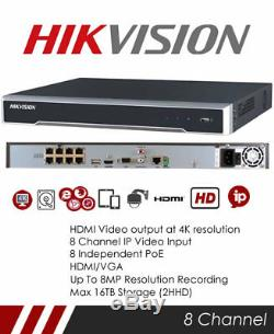 Enregistreur Nvr 4k Hd 8ch Poe H. 265 Hd Authentique Uk Hikvision Ds-7608ni-k2 / 8p