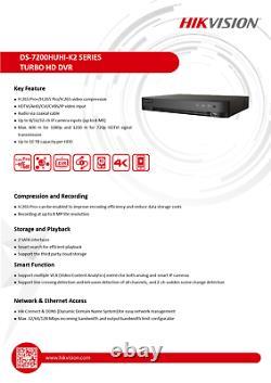 Enregistreur Vidéo Numérique Hikvision 8 Canaux Dvr 4k 5mp Ds-7208huhi-k2 Royaume-uni Stock
