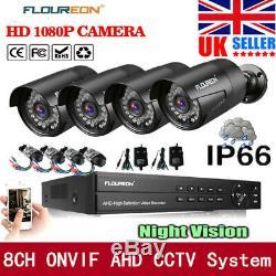Ensembles D'enregistreurs Dvr Floureon Cctv 8ch 1080n Dvr Kit De 4 Caméras De Sécurité Extérieures 1080p