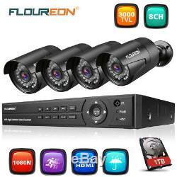 Floureon Cctv 8ch 1080n Ahd Enregistreur Dvr Kit De Sécurité Pour Caméra 4x 1080p + 1 To De Disque Dur