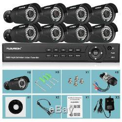 Floureon Cctv 8ch 1080p Dvr 3000tvl Extérieur Kit Système De Caméra De Sécurité