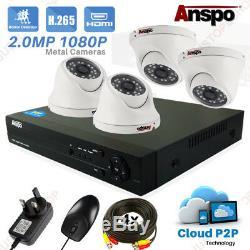 Full Hd 4 Canaux Cctv 4ch Enregistreur 4x 1080p Sécurité 2mp Caméra Kit Système Dvr