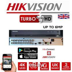 Hikvision 16ch Dvr 6mp Complet 16x Canal Cctv Système De Sécurité Enregistreur Turbo 4k