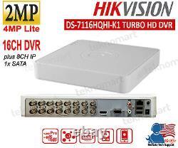 Hikvision 2mp 16ch Dvr Ds-7116hqhi-k1 Plus 8ch Ip Record 1080p H. 265 1xsata