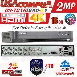 Hikvision 2mp 16ch Dvr Ds-7216hghi-k1 4k-uhd + 2 Canaux Ip Enregistrement 1080p Lite H. 265