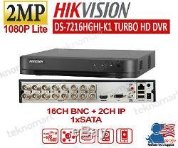 Hikvision 2mp 16ch Dvr Ds-7216hghi-k1 Plus 2ch Ip Enregistrement 1080p (aucun Disque Dur)
