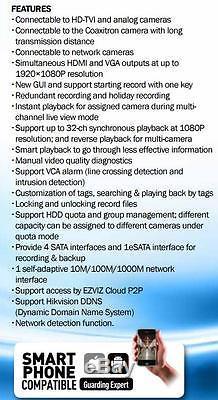Hikvision 32ch Cctv Système Dvr Enregistrement 1080p / 720p Compatible Hd-tvi / Caméra Analogique