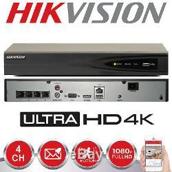 Hikvision 8mp Ip Poe 4k Nvr Enregistreur De Sécurité Cctv 4ch Channel Ds-7604ni-k1 / 4p