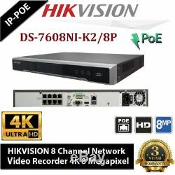 Hikvision 8mp Ip Poe 4k Nvr Enregistreur De Sécurité Cctv Canal 8ch Ds-7608ni-k2 / 8p