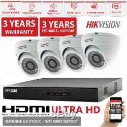 Hikvision Cctv Enregistreur Hiwatch Dvr 4 Canaux Kit De Système De Caméra De Dôme Hd Cctv P2p