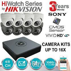 Hikvision Cctv Recorder Kit De Système De Caméra Dôme Cctv Hiwatch Dvr 4/8 Canaux P2p