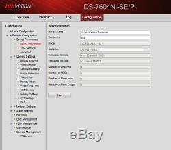 Hikvision Ds-7604ni-se / P 4 Canaux Cctv Nvr Poe Caméra Ip Dvr Enregistreur Disque Dur