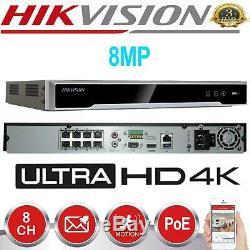 Hikvision Ds-7608ni-k2 / 8p Cctv Enregistreur Nvr Hd 4k 8 Ch Canal Poe Véritable Royaume-uni