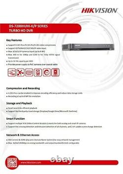 Hikvision Dvr Recorder Ds-7208huhi-k2/p Poe 8x Ch Véritable 5in1 5 Mp Hd Outdoor