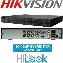 Hikvision Hilook 8 Canaux 1080p 2mp Hdtvi Analogue Ahd Hybrid Bnc Enregistreur De Vidéosurveillance