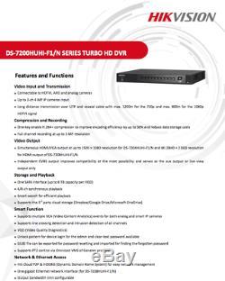 Hikvision Turbo Hd 3mp Dvr 4/8/16 Ch 1080p 4k Sortie Cctv Enregistreur Caméra Uk ^