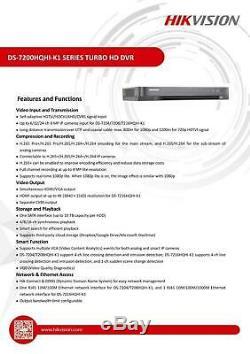 Hikvision Turbo Hd Dvr 4/8 / 16ch 1080p 4mp Hdmi Vga Cctv Enregistreur Vidéo Utp Bnc