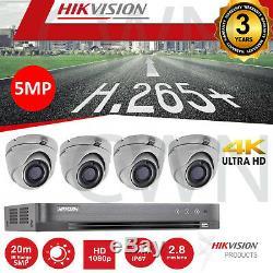 Kit De Caméra De Vidéosurveillance Tvi 4 X 5 Mp, Marque Hikvision, Câble Bnc Enregistreur Hdmi 4ch Hdmi