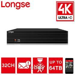 Longse 32ch Dvr Xvr 8mp 4k Uhd Jusqu'à 64tb Cctv Enregistreur Vidéo Numérique Black Hdmi