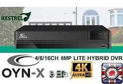 Oyn-x Kestrel 4k 8mp Système Cctv Kit Caméra Dôme Extérieur Intérieur Magnétoscope Numérique Set