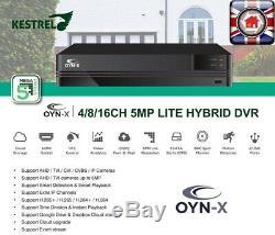 Oyn-x Kestrel 5mp Cctv Système Kit Intérieur Extérieur Hd Caméra Dôme Magnétoscope Numérique Set
