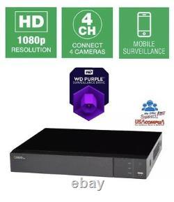 Q-voir Qth43-1 4 Ch 1080p Bnc Enregistreur De Surveillance Analogique Hd Dvr 1tb Hdd