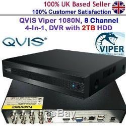 Qvis Onyx Cctv Viper 1080n Enregistreur Numérique 4 Canaux 1 En 1 Avec Enregistreur Hd De 2 To