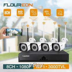 Sans Fil 1080p 8ch Dvr Cctv Système De Sécurité 4 Caméras Ip Extérieure