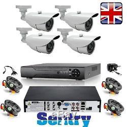Sentinelle 4 Hd Caméra Cctv Système De Sécurité Dvr 4ch Home Kit Enregistreur 500go 1tb 2to
