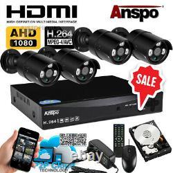 Smart Dvr 4ch Hd 1080p Accueil Extérieur Système Cctv Caméra De Sécurité Avec Disque Dur