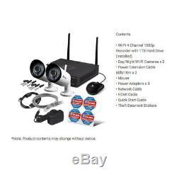 Swann Nvw-485 4ch Wi-fi Cctv Hd Enregistreur Dvr 1 To Dvr Jour / Nuit 2x Caméra De Sécurité Ip