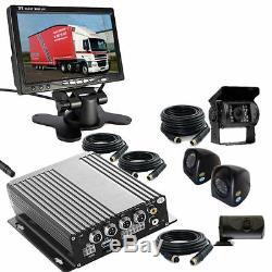 Truck-coach- Dvr- Cctv- Système D'enregistrement Inclus 4 Câbles De Caméra + Moniteur