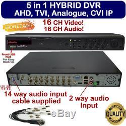 Viper Pro 16ch 5in1 1080p 16 Sécurité Cctv Audio Video Recorder Dvr H. 264 Royaume-uni